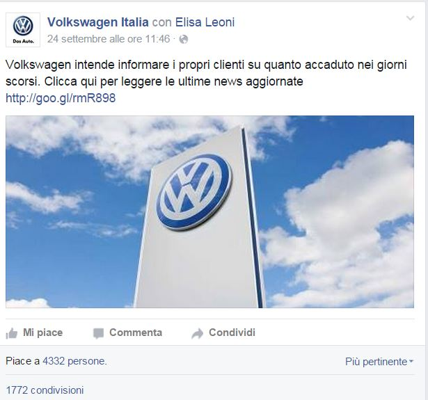 "Volkswagen gate – un caso di ""crisis communication management"""